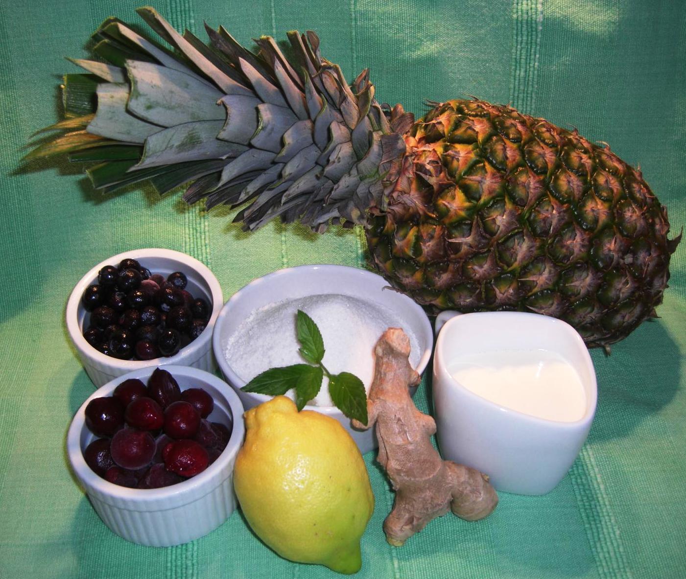 Zutaten Ananas Marmelade und Eis.BIGJPG