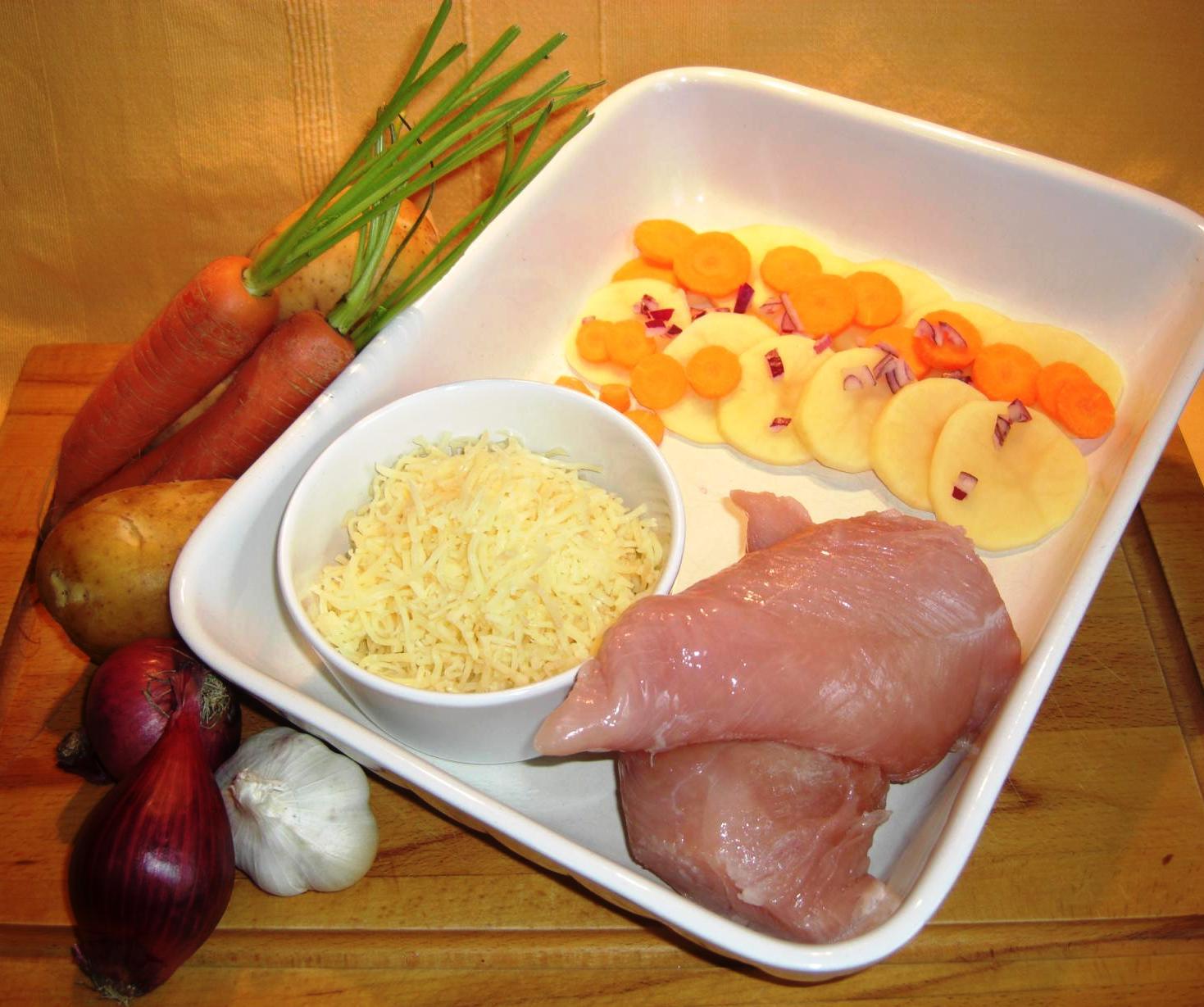 Zutaten Kartoffel Möhren Gratim Parmesan SchnitzelBIG