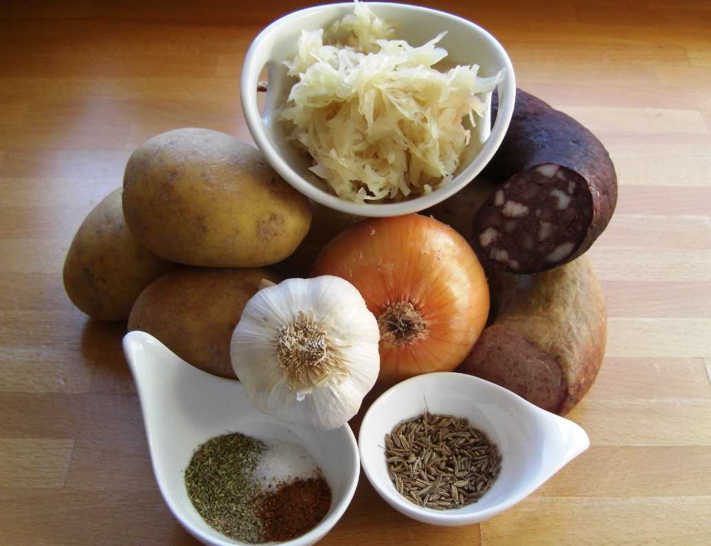 Zutaten Kartoffel-Sauerkrautauflauf
